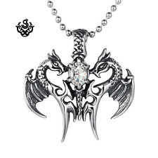 Silver pendant vintage style stainless steel two dragons cz ball chain necklace