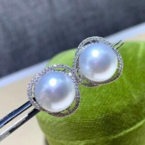 11-12 mm round  Natural Australia south sea white pearl earrings 18 k white gold