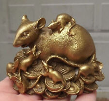 Chinese copper Statue Figurine Rat Mouse L:3.3INCH