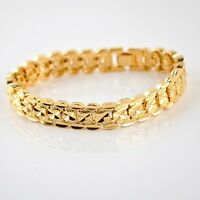 """Women/Men Bracelet 8""""Watch Chain 18K Yellow Gold Filled 10MM GF Jewelry Gift"""