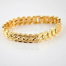 "Watch Chain 18K Yellow Gold Filled Women/Men Bracelet 8"" Link 12MM Jewelry Gift"