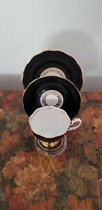 Vintage ROYAL ALBERT Black Harlequin Trio Tea Cup & Saucer Set