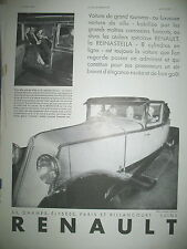 PUBLICITE DE PRESSE RENAULT REINASTELLA 8 CYL AUTOMOBILE FRENCH ADVERTISING 1930