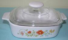 Vintage Corning Ware WILDFLOWER 1 Quart Casserole Baking Dish A-1-B w/ Lid