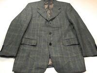 Hugo Boss Artemis 40R Gray Blue Check Wool Jacket Blazer Sport Coat