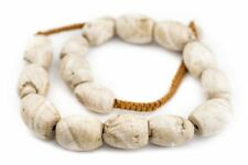 Oval Naga Conch Shell Beads 24x16mm Nepal White Large Hole 22 Inch Strand