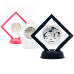 1pc Floating Coin Display Frame Bracket Coin Box Case Stand Holder With Bracket