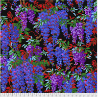 Wisteria Black Philip Jacobs/ Kaffe Fassett cotton Quilting Fabric BTY