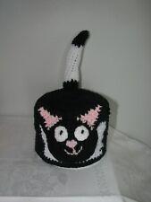 Handmade Toilet Paper Roll Cover Crochet BLACK&WHITE CAT bathroom decoration new