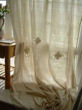 New 2 X French Country Rustic Tab Top Beige Cotton Linen Crochet Lace Curtain D1