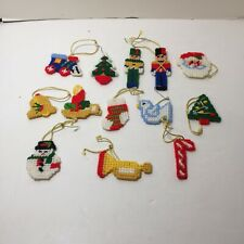 "13 Assorted Plastic Canvas Christmas Ornaments 2.5"" tall Toy Soldier Train Horn"