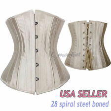 Black 28 Steel Bones Waist Training Underbust Lace up Corset Top Lingerie Shaper