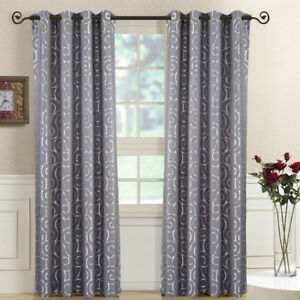 2 Panels Tuscany Abstract Jacquard Grommet Top Window Drapes & Curtains