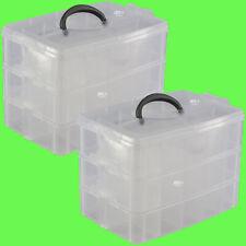 ► (2 Stk) 30 Fächer 3-Etagen Stapelbox Sortierkiste Sortimentskasten 26x17x18cm