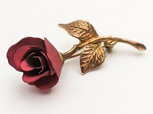 Vintage Brooch Pin Signed GIOVANNI Long Stem Rose  Red Gold Flower Leaf