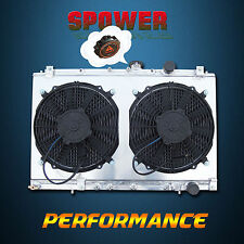 Aluminum Radiator + 120W Fan + Fan Shroud For Mitsubishi Lancer EVO 1 2 3 MT