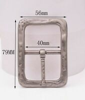 Retro Two-tone Solid Heavy Duty Center Bar Pin Belt Buckle For 40MM Leather Belt