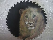 Hand Painted/Folk Art Lion Round Saw blade 'Signed' 04