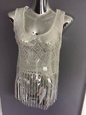 New Internacionale ~ White Laced Over Top With Tassles ~  Crop Top Size 18