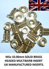 M5x 10.00 mm (10 inserti) ottone massiccio filettato Press/Push-in plastica per inserti.