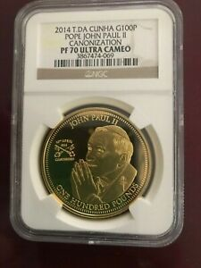2014 One Ounce Gold Coin Pope John Paul 100 Pound Denomination Graded PF70