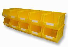 10 X NEW BARTON YELLOW TC3 PLASTIC PARTS STORAGE BINS - SET B312F