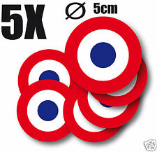 Cocarde Sticker autocollant rond FRANCE Cocarde tricolore  5cm 5 exemplaires