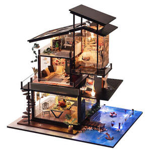 B - Yu Dollhouse Valencia Coastal Villa Doll House Miniature Furniture | DIY Kit