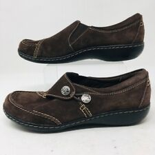 Clarks Womens Loafers Shoes Brown Leather Slip On Flat Heel Button Strap 7 M