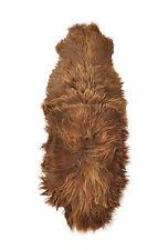 Öko Lammfell Teppich Fell-Teppich Bettvorleger ca. 200 x 70 cm goldbraun
