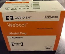 Alcohol Prep Pads - 2 BOXES- Covidien Webcol 400 total Medium 2-Ply Sterile pads