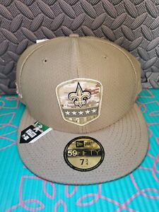 New Era NFL New Orleans Saints 59Fifty  Salute to Service Fitted Hat Cap Sz7 3/4