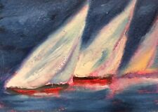 """ACEO Three Sisters A  Sailing Original Oil Boat Painting by K Fuller 2.5""""x3.5"""""""