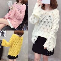 Sexy Women Oversize Hollow Crochet Pullover Bell Sleeve Knit Sweater Blouse Tops