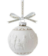Wedgwood Merry Christmas Ball Ornament Taupe Tan & White Relief Porcelain New