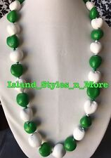 Hawaii Wedding Kukui Nut Lei Graduation Luau Hula Necklace SOLID GREEN WHITE NWT