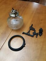 Antique Victorian Vintage Cast Iron Oil Lamp Wall Bracket AND Oil Lamp Base
