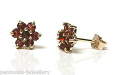 9ct Gold Garnet cluster stud Earrings Gift Boxed studs Made in UK
