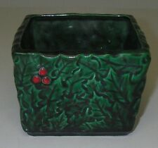"""Made in Japan ART POTTERY INARCO Ceramic Planter Green Holly Berry Leaves 3¾"""" sq"""