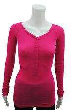 Womens P.C T-Shirt Top Button Up Long Sleeve Ribbed LYCRA Cerise Size 6 - 18