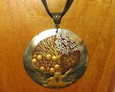 Genuine Hand painted Shell pendant GOLDEN TREE OF LIFE FOUR SEASONS necklace ART