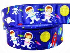 "7/8"" Rocket Space Girl Boy Grosgrain Ribbon Scrapbooks DIY Crafts Bow Cards Blue"
