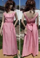 SEXY vintage 60s PINK MAXI DRESS sleeveless backless prom cocktail party women S