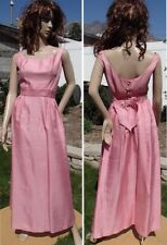 SEXY vintage 60s PINK MAXI DRESS sleeveless backless cocktail party womens small