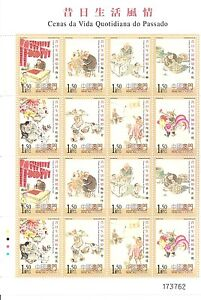 MACAO-CHINA -2003-PAST DAILY LIFE-M/SHEET-16 stamps-(8dif.x2)