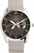 Obaku Flint Onyx Men's Watch Stainless Mesh Dual Time 40mm 2Yr. Wnty V171GMCBMC