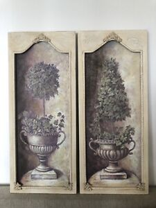 Hamptons -Topiary Framed Prints. BNIB Large French Wall Art Pair. 2 x 61x25.5 cm