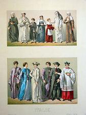 Costume Sœur Religieuse CHROMOLITHOGRAPHIE ORIGINALE 19e Racinet COLLÈGE ROMAIN