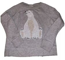 Jcrew Kids Crewcuts Gray Sequin Polar Bear Sweatshirt Shirt Size 8 EUC