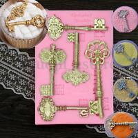 3D Vintage Antique Key Silicone Mold Cake Fondant Decor Sugarcraft Baking Tool
